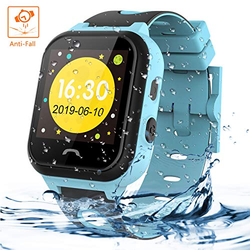 Themoemoe Kids Smartwatch Phone, Kids Smartwatch Waterproof Anti-Fall 2G GPS/LBS Tracker SOS Camera Games Compatible with Android iOS (Blue)