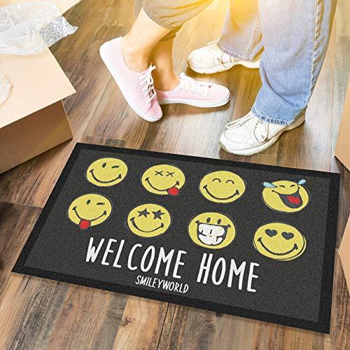 LILENO HOME Fussmatte 40x60 cm Welcome Home - Schmutzfangmatte für innen u. außen - Lustige Fußmatte Schwarz/Gelb - Waschbare u. rutschfeste Fussabtreter Türmatte als Türvorleger dünn