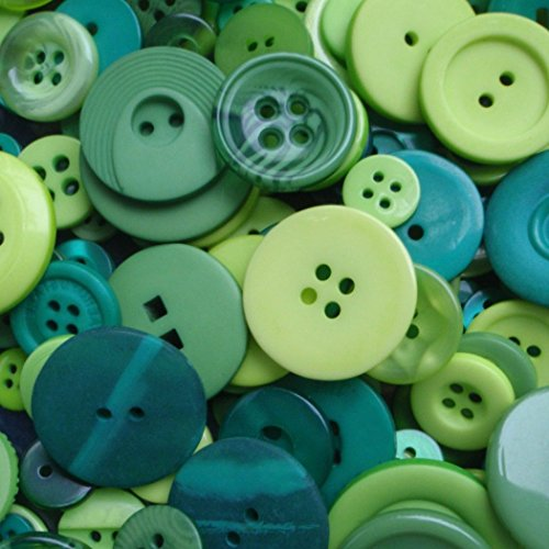 """Fancy & Decorative {Assorted Sizes} Approx 100 Pack Mix of """"Flat & Shank"""" Sewing & Craft Buttons Made of Acrylic Resin w/ Varied Glossy & Matte Swirls Earthy Nature Tones Design {Green}"""
