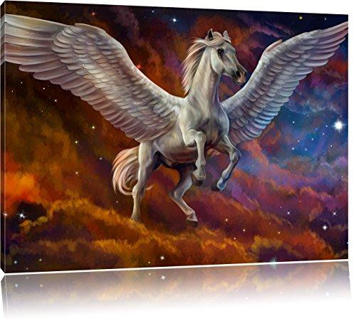 Pixxprint Weißer Pegasus mit Engelsflügel als Leinwandbild | Größe: 80x60 cm | Wandbild | Kunstdruck | fertig bespannt