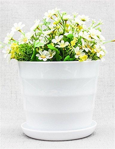 XYZ Di Plastica Rotondo Vaso Di Fiori Con Vassoio, Supporto Succulente Pianta, Planter Fiore Per Desktop Da Ufficio ( Pacchetto Di 2) delicato durevole