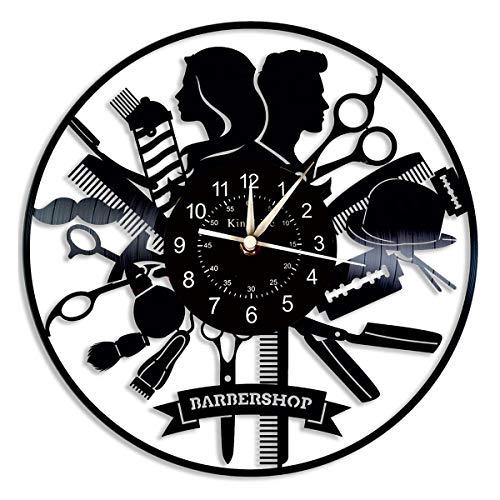 Cheemy Joint Barber Shop Vinyl Record Reloj de Pared Reloj de Cuarzo de Vinilo de 12'|Reloj para peluquería Regalos para peluqueros|Reloj de Pared para Sala de Estar.