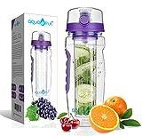 AquaFrut 32 OZ Fruit Infuser Water Bottle BPA-Free Fruit Infusion Sports Bottle - Flip Top Lid w Drinking Spout, Leak Proof, Made of Durable Tritan. Free Recipe eBook! (Purple)