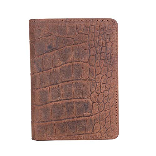 Law Enforcement Badge Wallet, All Leather, Fits Any Shape Badge with Pin Back -Brown Croc