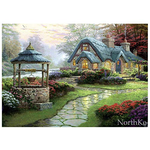 "NorthKe Jigsaw Puzzles for Adults 500 Piece, Thomas Kinkade Puzzle Games Gifts for Kids Ages 10+ yrs - Mountain Hut 20"" x 14.2"""