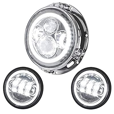 "NTHREEAUTO 7"" Chrome Projector Halo Headlight DRL Angel Eyes Headlamp 4.5"" Halo Fog Lights Passing Lamps Auxiliary light Compatible with Harley Davidson Touring Road Glide Jeep Wrangler JK TJ"