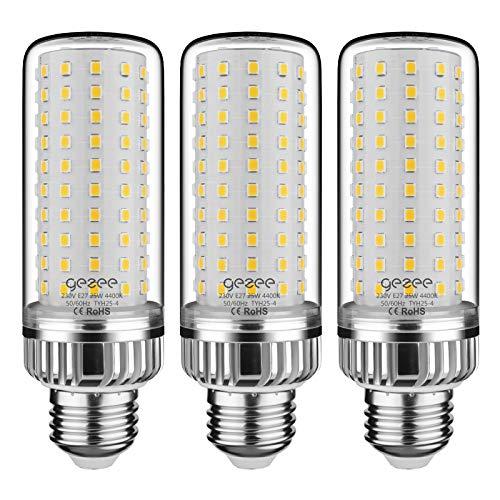 GEZEE E27 LED Ampoules de Maïs, 25W 2500LM, 200W Équivalent Ampoules à Incandescence, Blanc Neutred 4400K, AC 230V, Non Dimmable, Sans Scintillement(Pack de 3)