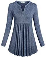 SeSe Code Henley Tunic,Blouses for Women Ladies Chic Swing Tops Small Size Long Sleeve Sweatshirt Cotton Casual Wear Loose Curved Hem Utility Long Tunic Shirt Stylish Space Dye Gray Small