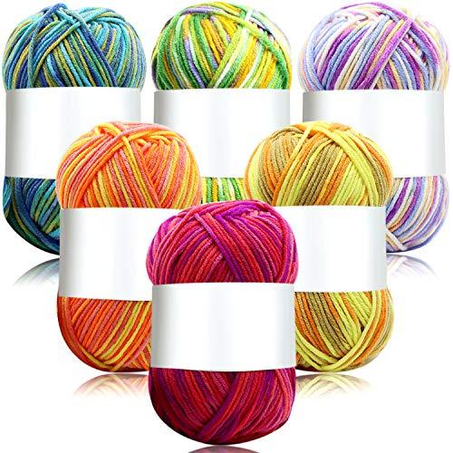 6 Stück 50 g Häkelgarn Mehrfarbig Baumwolle Stricken Garn Hand Gestrickt Garn Weberei Garn Häkelgarn