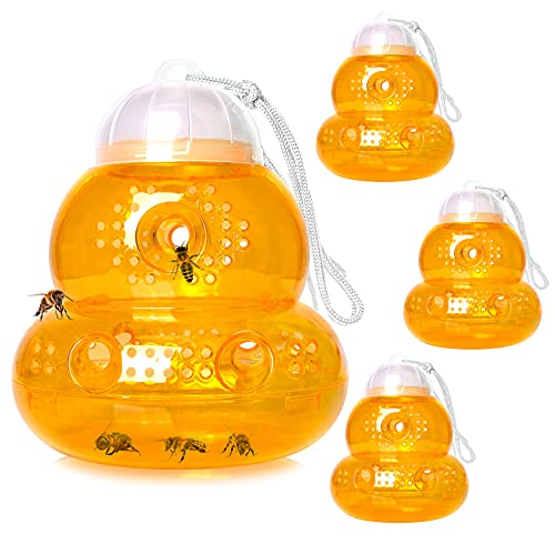 4 Pack Wasp Trap Outdoor, Wasp Catchers for Outside, Use With Vinegar