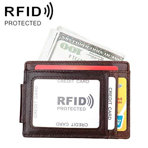 Cartera de Cuero antimagnético KB80 antimagnético RFID Caballo Loco Textura Cera de petróleo Titular de la Tarjeta de Cuero Billetero, Conveniente for el Ocio al Aire Libre de Negocios