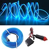 Neon Light El Wire 5M/16FT 12V with Fuse Protection for Automotive Car Interior Decoration with 6mm Sewing Edge (Blue)
