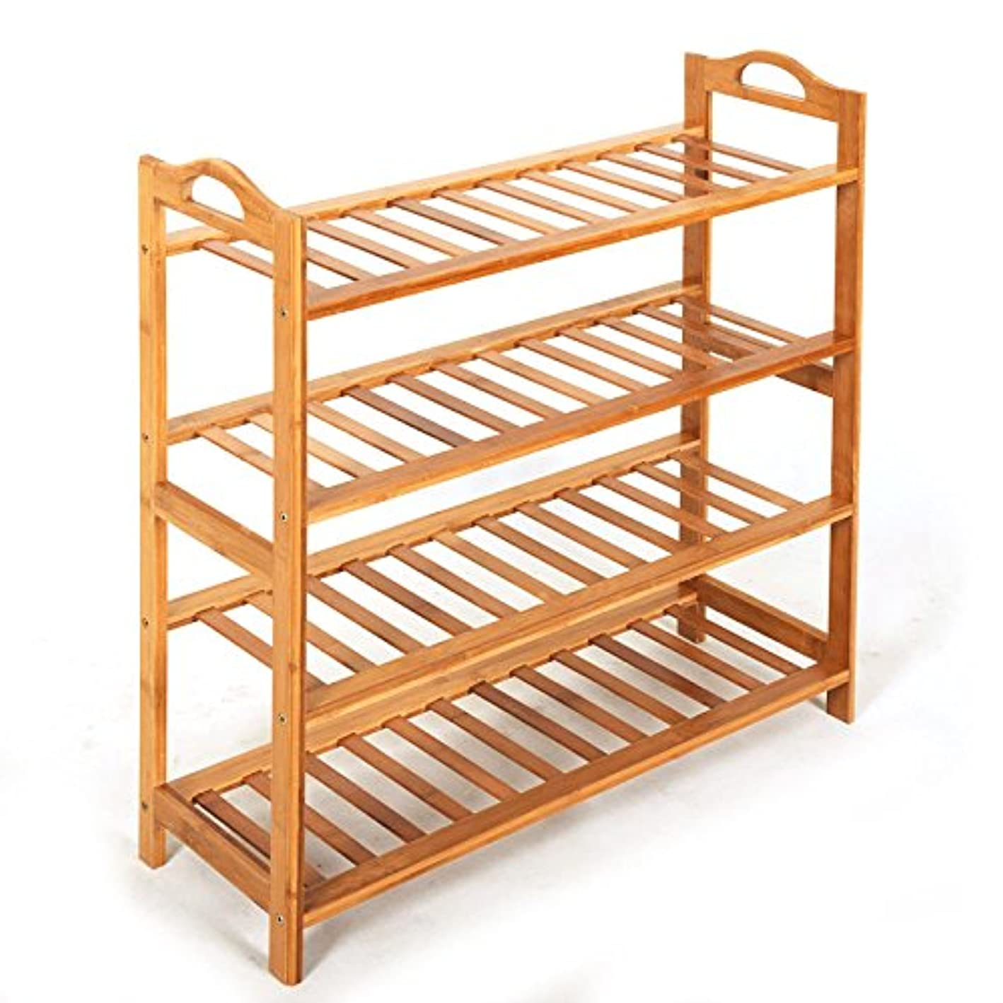 Azadx Bamboo Shoe Rack, 4-Tier Entryway/Balcony Free Standing Shoe Shelf Holder Storage Organizer Furniture