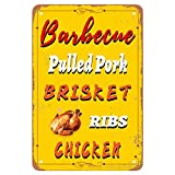 ANJOOY Tin Signs Vintage - Barbecue Pulled Chicken Dads BBQ - Metal Sign for Bedroom Cafe Home Bar Pub Coffee Beer Kitchen Bathroom Door Garden Funny Wall Decor Art 8'x12'