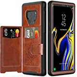 Galaxy Note 9 Case with Card Holders,SXTech (Leather case Series) Slim Yet Protective with Kickstand.Built-in Magnetic Backing and Shorkproof Cover Fit for Note 9 (2018) Wallet Case-Brown …