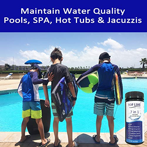 Top Line - 7 Way Pool Test Strips (120 Strips) - Hot Tub Test Strips - Spa Test Strips - Fresh & Saltwater Pool Test Strips - Test: pH, Chlorine, Cyanuric Acid, Hardness, Salt & More