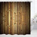 BROSHAN Bambus-Dekor-Duschvorhang, Polyester, wasserdicht, waschbar, Badezimmer-Vorhang-Set, Braun, Hellbraun, Beige, Bad-Zubehör mit Haken, 183 x 183 cm