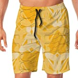 Kneeling Figure Golden Men's Beachwear Slim Fit Summer Holiday Swim Trunks Quick Dry Striped Swim Sh...