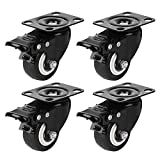 2' Heavy Duty Casters Wheels, Dedoot 4 Pack Caster Wheels with 360 Degree Top Plate, Locking Casters Swivel Caster Wheels for Furniture - 150 LBs Per Caster