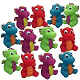 Livativ Playko 2 Inch Animal Water Squirter Bath Toys - Pack of 12 - Animal Shaped Bath Toys for Kids and Toddlers - Party Favors Goodie Bag Stuffers (Dragon Water Squirting Bath Toys (Pack of 12))
