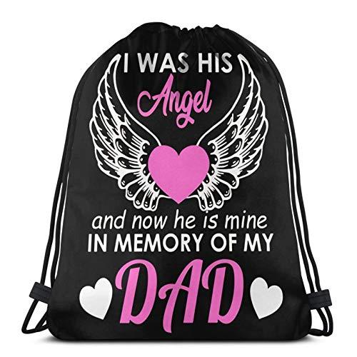 fenrris65 Bolsa con cordón de terileno para hombre y mujer, diseño con texto en inglés 'Cute Was His Angel And Now He Is Mine Memory Of My Dad'