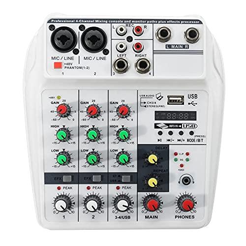 Mesa de Mezclas Mezclador de Audio de 4 Canales Bluetooth USB Estilo Estilo de Sonido Mezcla de Sonido Consola Digital para Stage Studio (Color : White, Size : Type A)