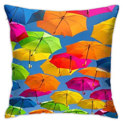 Funda de almohada para papel pintado de paraguas, suave, fundas decorativas, fundas de almohada cuadradas, moderna, decoración del hogar, coche, 66 x 66 cm