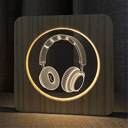 3D Wooden LED Night Light,Handmade Art Night Mood Light with Wooden Holder for Children's Room Bedroom Cafe Bar Dining Room Bedside Table Lamp,H,Warm White