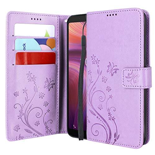 Lacass Floral Butterfly PU Leather Flip Wallet Case Cover Kickstand with Card Slots and Wrist Strap for Alcatel 3V (2019) Case (Light Purple)