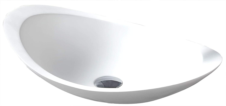 Aufsatzwaschbecken TWA05 aus Mineralguss (Pure Acrylic) - Matt - 60,5 x 38 x 14,5 cm, Ablaufgarnitur Pop-up Ohne Ablaufgarnitur, Zustzl. Blende für Ablaufgarnitur ohne zustzl. Blende