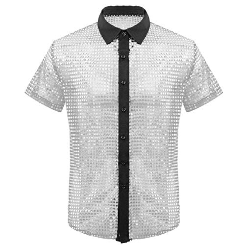 inhzoy Herren Pailletten Shirt Kurzarm Glitzer Hemd Top Disco 70er Jahre Mottoparty DJ Kleidung Karneval Fasching Kostüm Clubwear Silber XXL