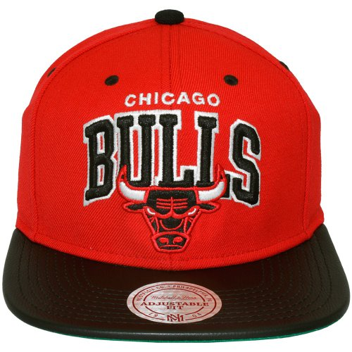 Mitchell & Ness Leather Arc Chicago Bulls Snapback Cap Kappe Basecap
