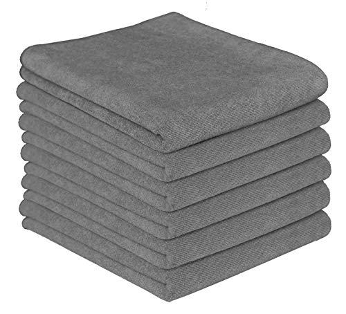 Gryeer Microfiber Kitchen Towels - Highly Absorbent, Soft and Lint Free Dish Towels, 26x18 Inch, Pack of 6, Gray