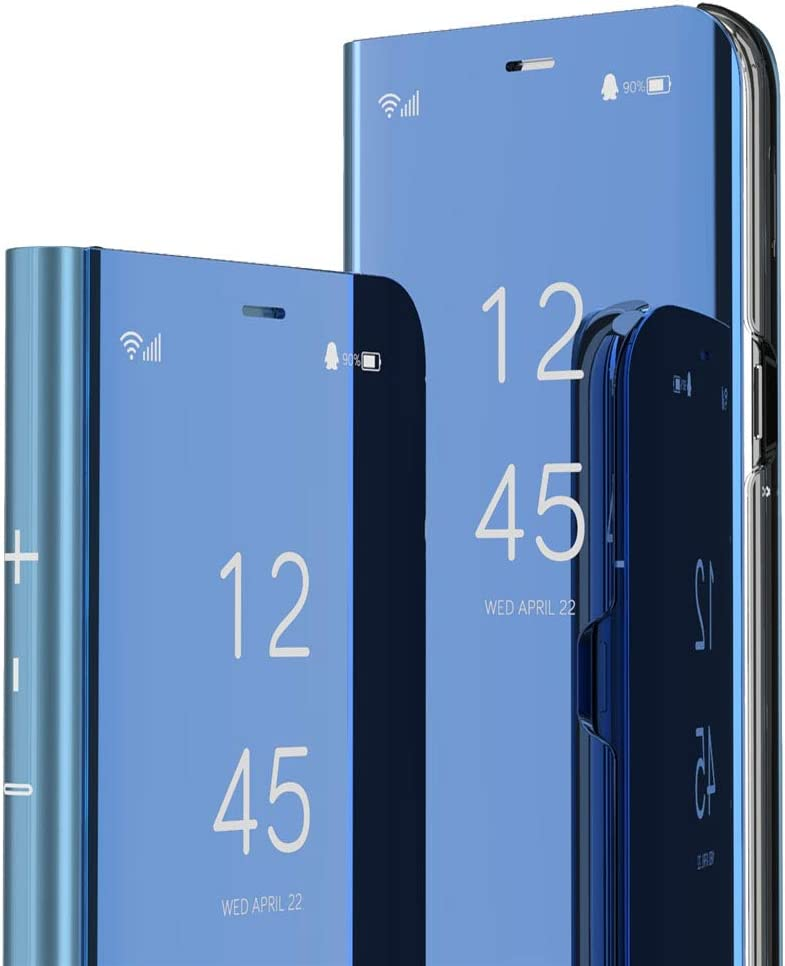 MEIKONST Galaxy Note 10 Plus Case,PU Mirror Flip Ultra Slim Cover Scratchproof Clear View Window with Built in Kickstand Full Body Protective Cover for Samsung Galaxy Note 10 Plus,QH Mirror Blue