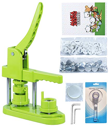 Happizza Installation-Free Button Maker Machine (3rd Gen)25mm(1 in), DIY Pin Button Maker Press Machine Kit, Badge Punch Press Machine with Free 500pcs Button Parts&Pictures&Circle Cutter&Magic Book