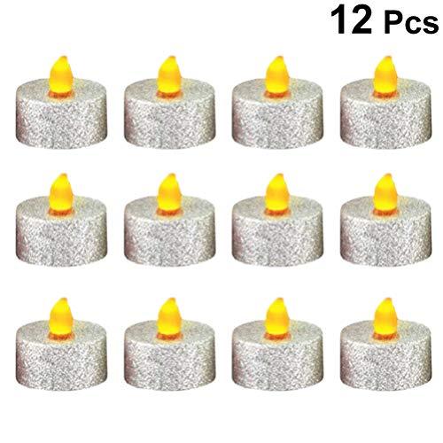 Uonlytech 12 piezas led velas sin llama velas eléctricas luces de té para navidad fiesta de halloween boda (plata)