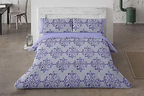 Burrito Blanco Juego de Funda Nórdica 452 con un Diseño de Formas Ornamentales para Cama de Matrimonio de 135x190 hasta 135x200 cm/Funda Nórdica Moderna 135, Color Azul