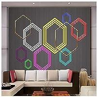 Wkxzz 壁の背景装飾画 カスタムモダンな幾何学的な六角形の背景壁紙壁画-280X200Cm