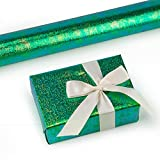 WRAPAHOLIC Wrapping Paper Roll- Green Paper With Rainbow Shiny for Birthday, Wedding, Mother's Day, Valentine's Day, Holiday, Baby Shower - 30 inch x 33 feet Per Roll
