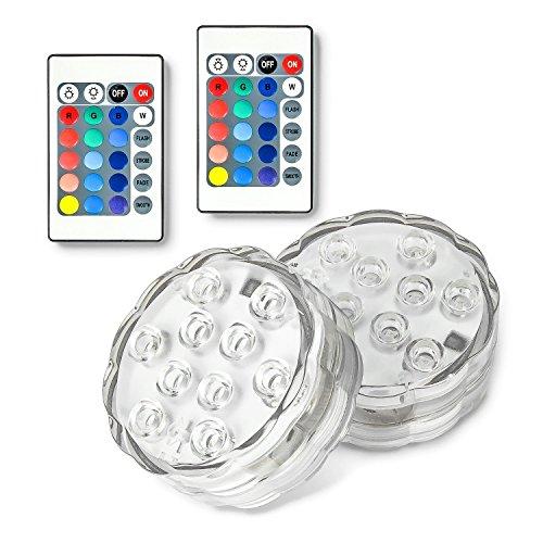 Luz sumergible LED con mando a distancia que cambia de color, baños calientes, jarrón de base, floral, acuario, piscinas decorativas (2 luces sumergibles + 2 mandos a distancia)