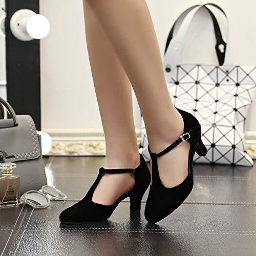 MINITOO QJ6132 Damen Peep Toe High Heel Wildleder Salsa Tango Ballroom Latein Mönch Strap Dance Sandalen, Schwarz – T-strp/Black-6cm Heel – Größe: EU 40 - 4
