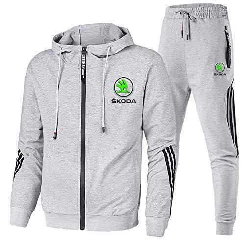 Gyulyaydin Herren Trainingsanzug Jogging Anzug Sko-da Sportanzug Kapuzen Zip Jacke + Hose Mantel/Grau/XXL sponyborty
