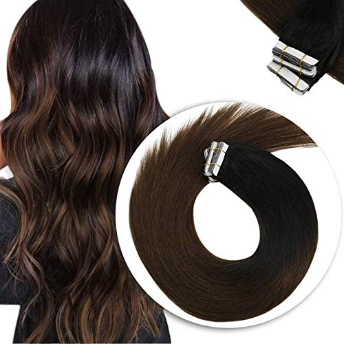 Sunny Ombre Extensiones Adhesivas Tape in Hair Extensiones Negras Natural a Marron Oscuro Remy Extensiones Adhesivas Cabello Natural 24 Pulgadas 50g