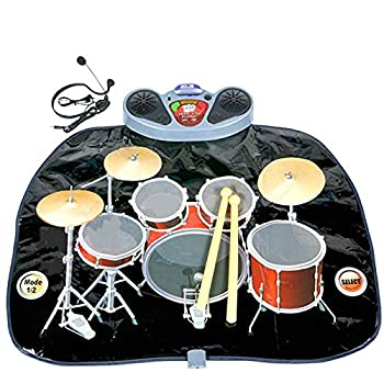 Rock N Roll Electronic Drum Mat - Portable Electronic Drum Pad - Creative Electronic Drum Kit Set Floor Fun Play Mat - Amazing Gifts for Boys & Girls With Drumsticks Headphone and Micr