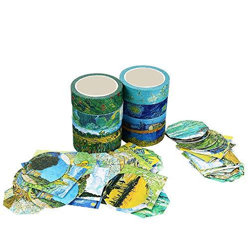 Molshine Set of 8 Japanese Washi Masking Tape,Adhesive Sticky Paper Tape+ 90pcs Planner Stickers