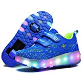 Nsasy Roller Shoes Girls Boys Wheel Shoes Kids Roller Skates Shoes LED Light Up Wheel Shoes for Kids for Children,Bluegreen Double Wheels, Size 12M