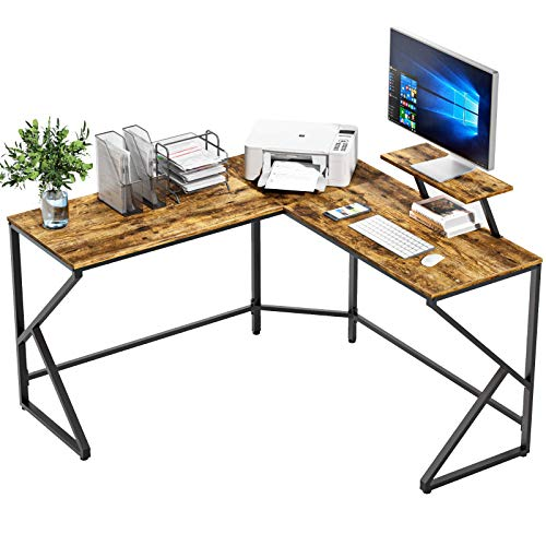 NOBLEWELL Computer Desk L Shaped Corner Desk with Monitor Stand, 105cm(L)*46cm(W)*75cm Solid Sturdy Office Desk for Home Working, Gaming, Study