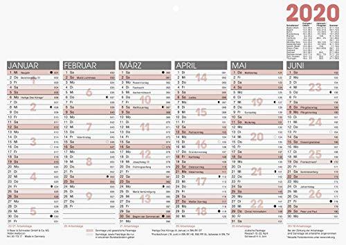 Glocken Arbeitstagekalender, Tafelkalender A 4, 297 x 210 mm, Karton, schwarz/rot (1)
