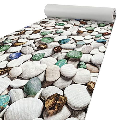 ANRO Alfombra de cocina con aspecto de piedras, lavable, 200 x 50 cm