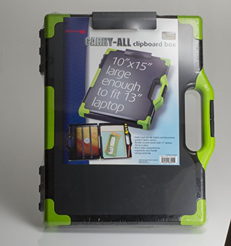 Officemate OIC Carry-All Clipboard Storage Box, Letter/Legal Size, Black & Green (83325) Photo #4